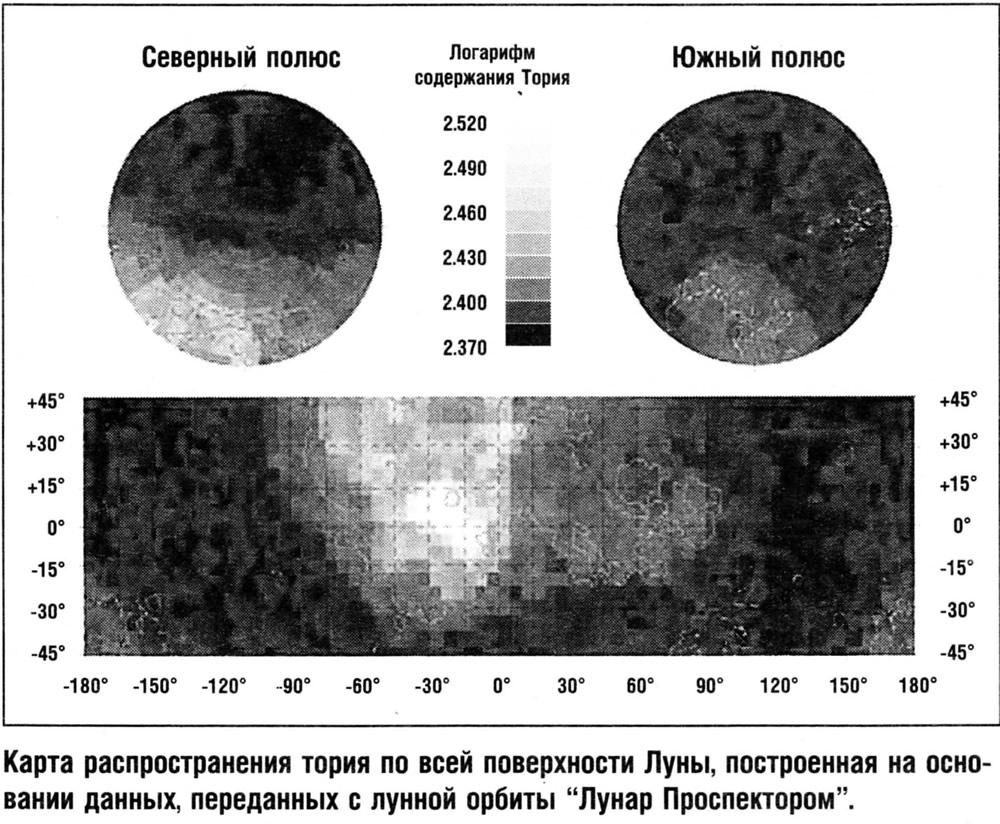 Карта распространения тория по всей поверхности Луны