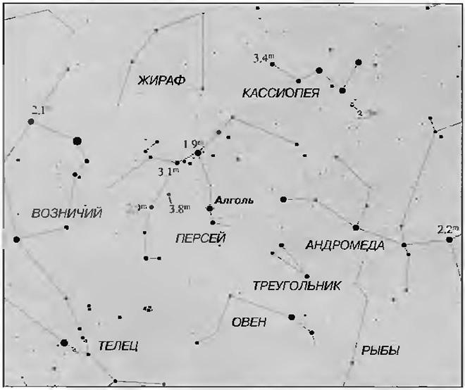 Карта со звездами сравнения для оценки блеска Алголя