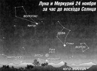 Луна и Меркурий 24 ноября
