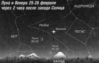 Луна и Венера 25-26 февраля через 2 часа после захода Солнца