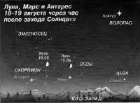 Луна, Марс и Антарес 18-19 августа