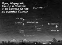 Луна, Меркурий, Кастор и Поллукс 9-10 августа