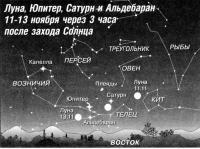 Луна, Юпитер, Сатурн и Альдебаран 11-13 ноября
