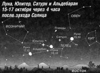 Луна, Юпитер, Сатурн и Альдебаран 15-17 октября
