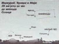 Маркурий, Веннера и Марс 29 августа за час до восхода Солнца