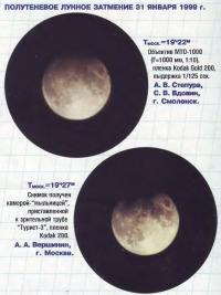 Полутеневое Лунное затмение 31 января 1999 г.