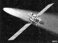 Рисунок зонда на фоне кометы