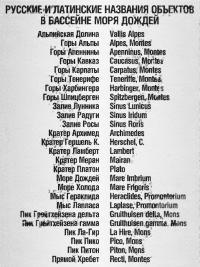 Русские и латинские названия объектов в бассейне Моря Дождей