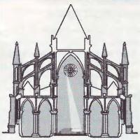 Схема условного готического собора, обладающего эффектом камеры-обскуры