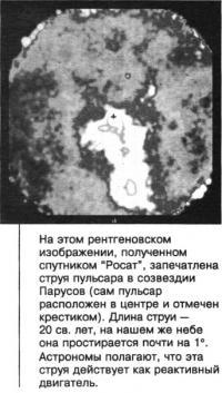 Струя пульсара в созвездии Парусов