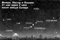 Венера, Кастор и Поллукс 31 мая